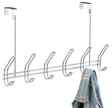 Over the Door 6-Hook Rack for Coats, Hats, Robes, Towels, Bags Hanger Storage