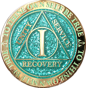 1 year AA Coin Aqua Glitter Sobriety Chip Alcoholics Anonymous Sober Medallion