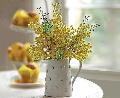 Bloom Mimosa Posy Golden Yellow Artificial Flower Bouquet Wedding Home Decor