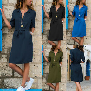 Womens-Button-Down-V-Neck-Midi-Dress-Ladies-Summer-Casual-Belted-Shirt-Dress-UK