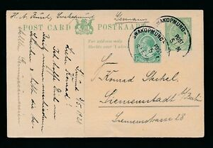 SOUTH WEST AFRICA 1920 KG5 SA STATIONERY CARD + UPRATED 1/2d...SWAKOPMUND OVALS