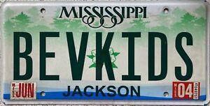 Mississippi Jackson County American License Number BEV KIDS Plate BEVKIDS