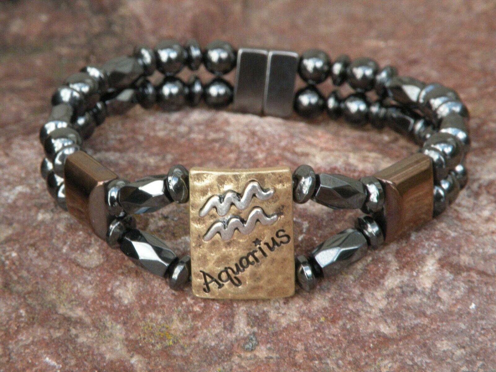 Men's Womens Aquarius Magnetic Hematite Bracelet Anklet 2 Row Zodiac Jan20-Feb18