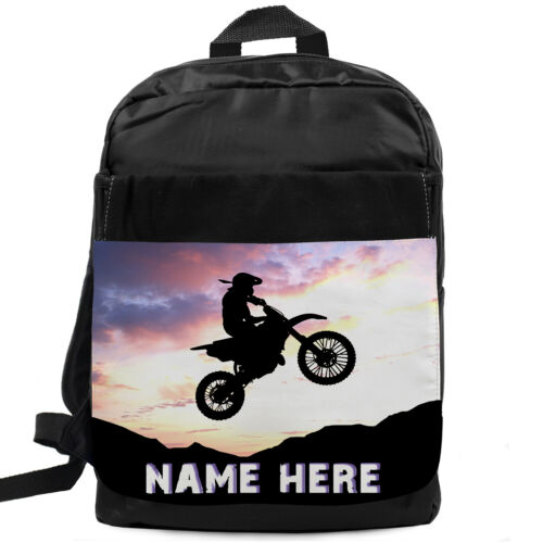 Boys Backpack Motocross School Bag Childrens Kids Rucksack Personalised SH063