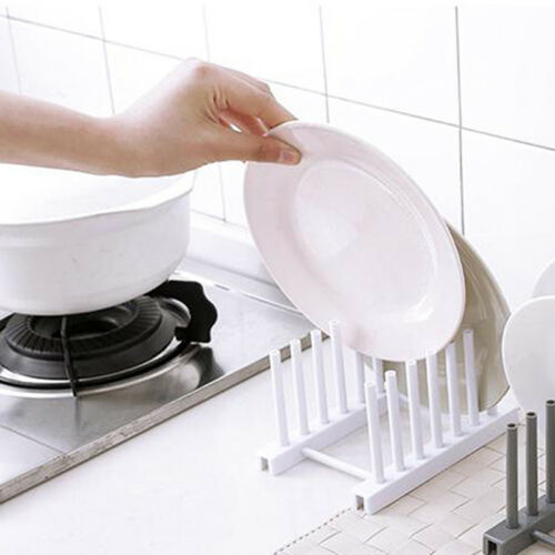 Kitchen Dish Plate Pot Lid Cover Drying Drain Holder Storage Rack Shelf Tool SUM