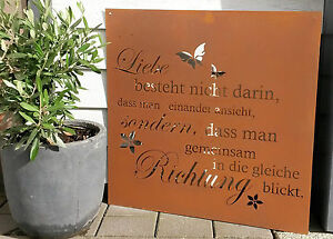 sprüche für den garten Spruchtafel Liebe Gartenschild Metall Garten Deko Edelrost  sprüche für den garten