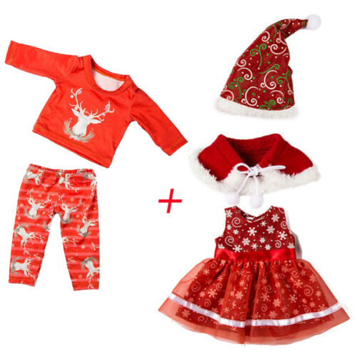 Dress Clothes For American Boy Doll for Accessory Girl Toy 4PC Chirstmas Pants