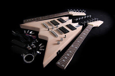 DIY Electric Guitar Double Neck Kit Project Bolt-On Solid Mahogany Body 12/6