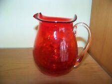 Pretty  ruby red Depression crackle glass hand blown creamer