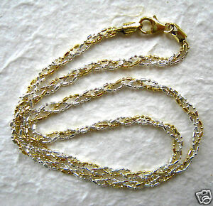 24-034-Italian-Sterling-Silver-amp-14k-Gold-Braided-Chain-Necklace