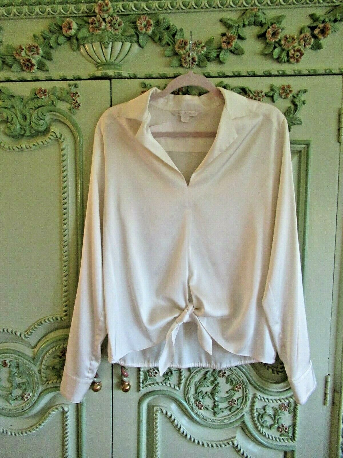 BOSTON PROPER FANCY BLOUSE,16, POLYESTER SPANDEX,TIE AT FRONT WAIST,LONG SLEEVES