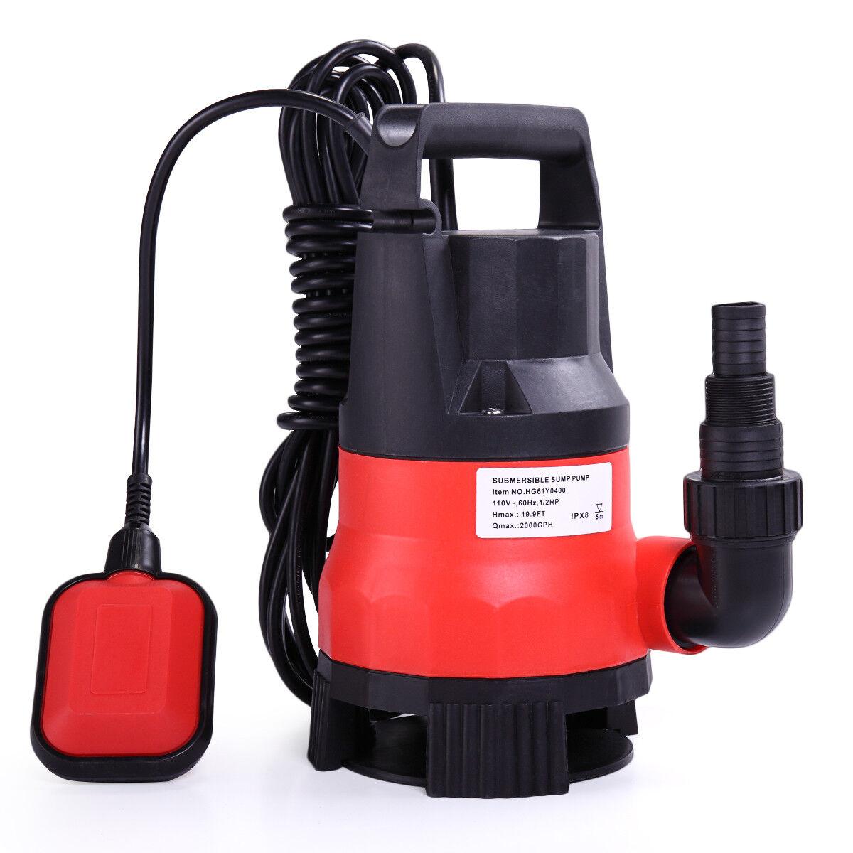 Submersible Water Pump 1 2 HP 2000GPH Clean Clear Dirty Pool Pond Flood Drain