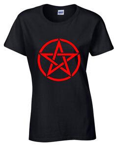 Pentagrama-Camiseta-Mujer-S-5XL-Rock-Gotico-Punk-Metal-Motero-Satanico-Rojo