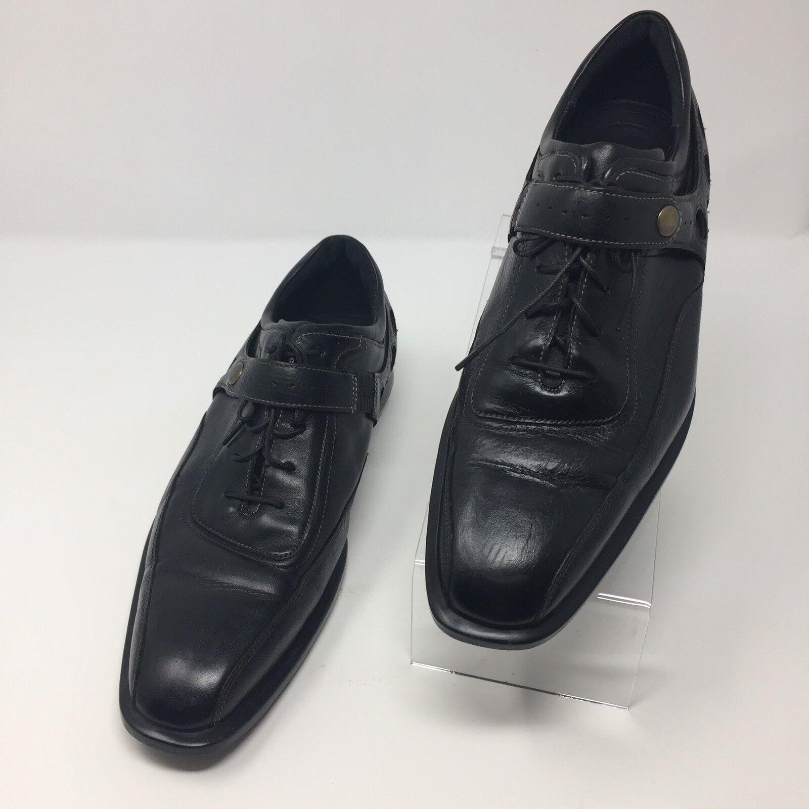 Cole Haan Mens Casual Dress shoes Cushion Sz 8M Black Leather Tie & Snap