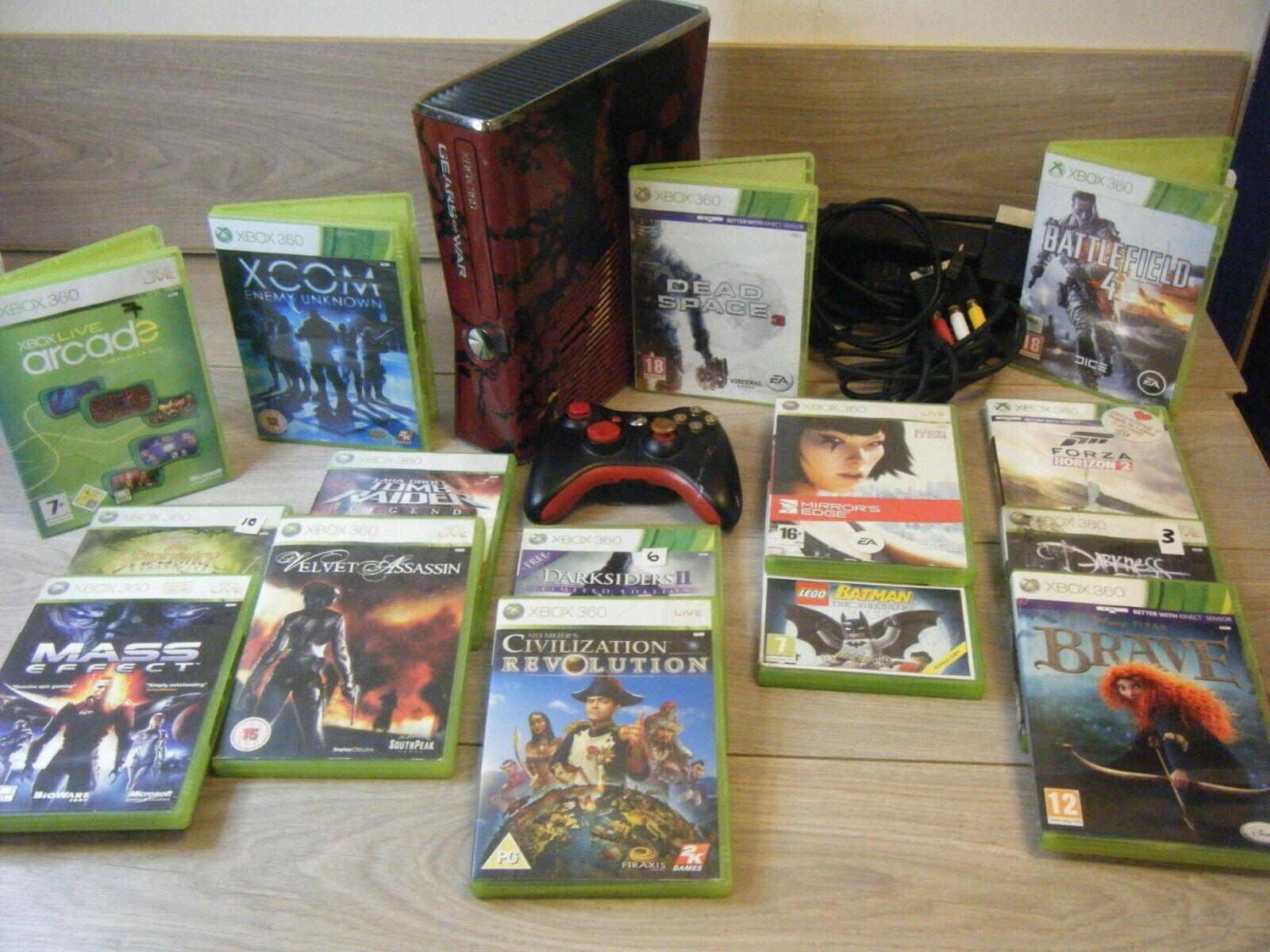 videogiochi e console: GEARS OF WAR XBOX 360 SLIM 320GB BUNDLE CONSOLE CONTROLLER  AND 15 GAMES