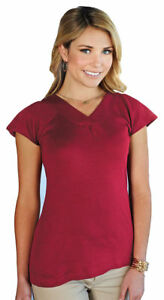 Tri-Mountain-Women-039-s-Stylish-V-Neck-Short-Sleeve-Slim-Fit-Casual-T-Shirt-LB127