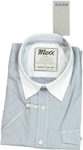 50 L Blau MEXX Herren Freizeithemd Kurzarm Oberteil Kragen Weiss Gr