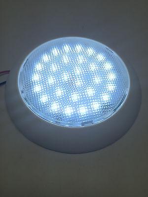 """#MARINE BOAT RV 5-1/2"""" DOME LIGHT WHITE PLASTIC 30 LED 12V COOL WHITE No SWITCH"""