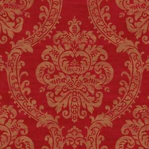 Wallpaper-Designer-Traditional-Gold-Metallic-Ink-Damask-on-Red-Faux-Finish