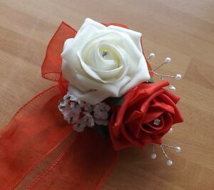 Wedding-flowers-maids-wrist-corsage-foam-roses-diamante-pearls-various-colours