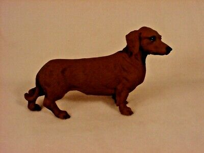 DACHSHUND red brown Dog ANGEL Ornament HAND PAINTED resin FIGURINE Christmas NEW