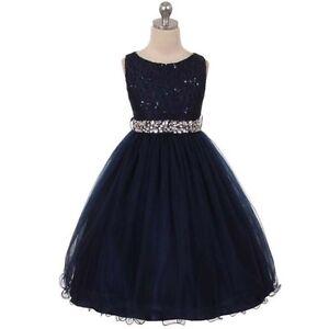 5a4ac1c4d4 A imagem está carregando Flor-Azul-Marinho-vestidos-Menina-Aniversario -Casamento-Dama-