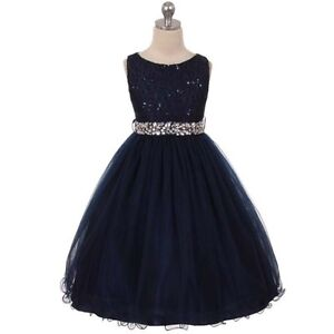 Navy Blue Flower Girl Dresses Birthday Wedding Bridesmaid