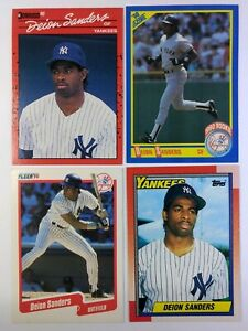 Lot-of-4-Deion-Sanders-Rookie-Baseball-Cards-New-York-Yankees-Prime-Time-RC