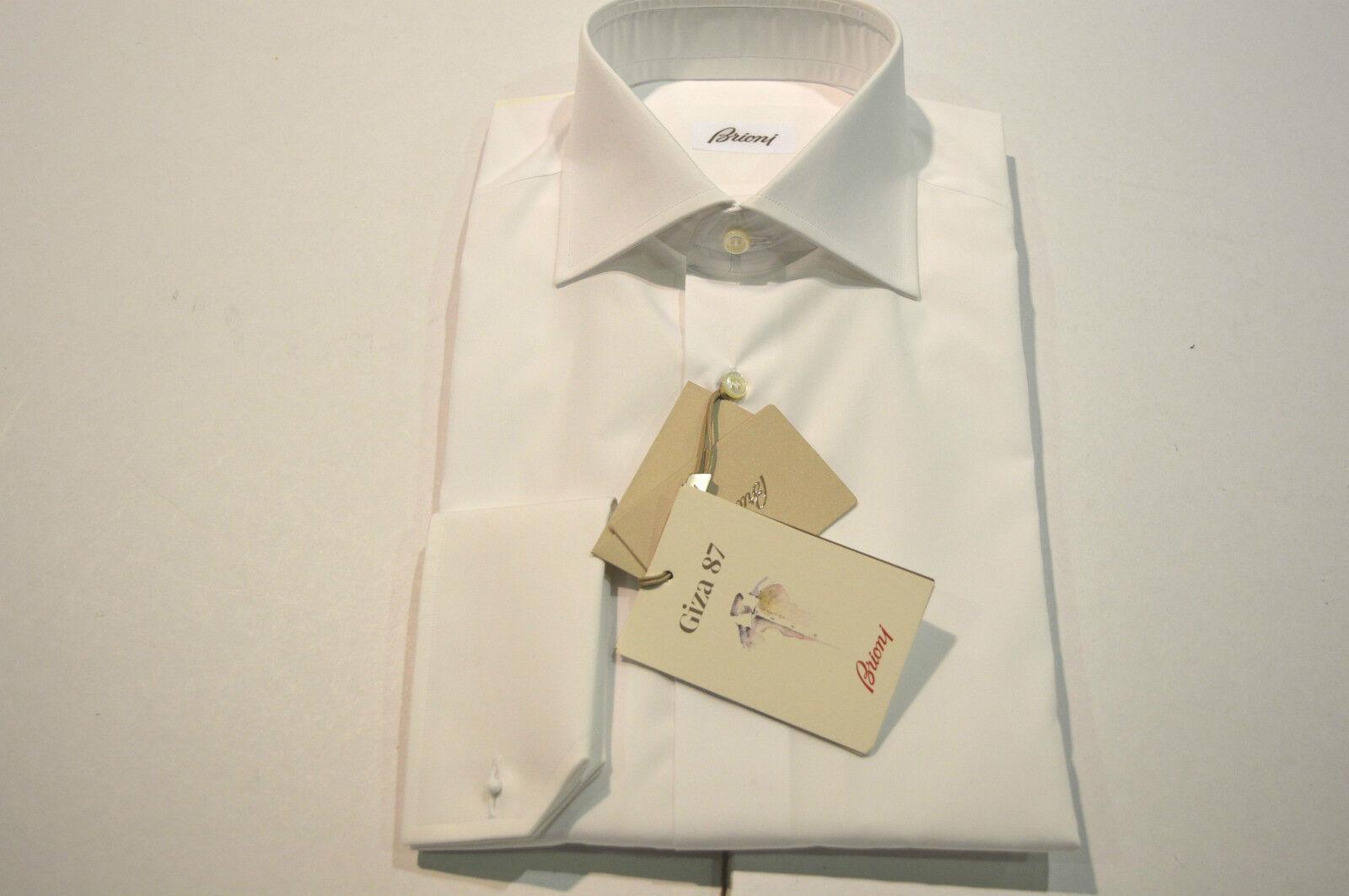 NEW  BRIONI Dress SHIRT 100% Cotton Size 15 Us 38 Eu  White  (Store Code AP6)
