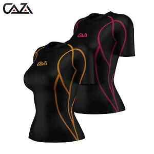 La foto se está cargando Para-Mujer-Compresion-Camisa-Manga-Corta-base-de- 11df5b151c22