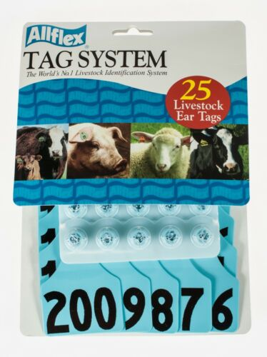 "ALLFLEX GLOBAL Ear Tags Maxi 4/"" x 3/"" with Buttons Black Blank 25ct Package"