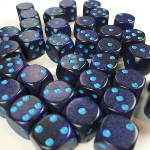 25907 Chessex Dice Block d6 36 pcs 12mm Speckled Cobalt Blue w// Blue