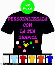 20 Magliette T-shirt Nere Personalizzate con le vostre scritte loghi foto etc.