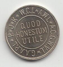 C T Co Quod Honestum Utile 1947 transit token Grafton West Virginia WV240B
