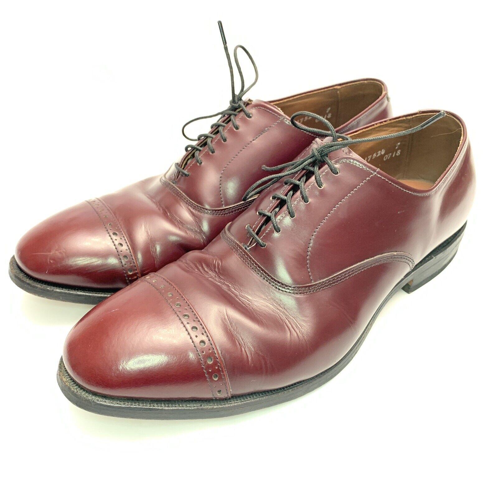 Men's Allen Edmonds 5th Avenue Cap Toe Oxford Leather shoes 9.5 E WideBurgundy