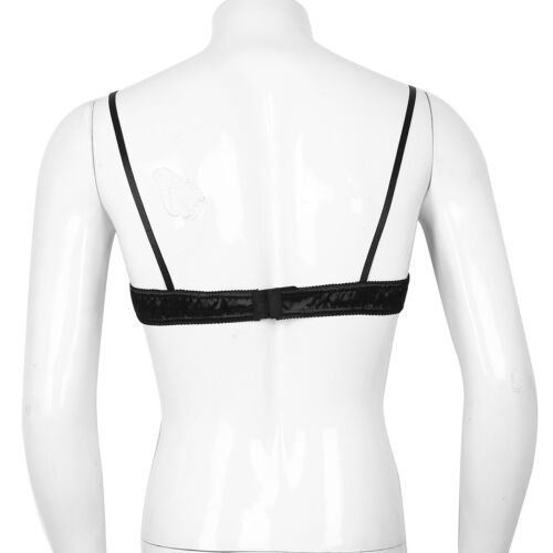 Men/'s Sissy Lace Training Bra Satin Bra Wire-free No Padded Bralette Bra Tops
