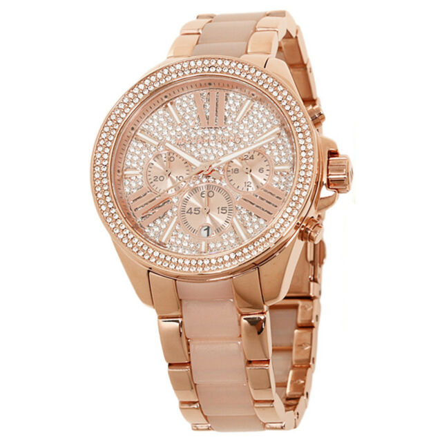 Michael Kors Rose Gold Ceramic Chronograph 41mm Ladies Watch MK6096 UK STOCK