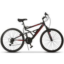 """26"""" Mountain Bike 18 Speed Bicycle Full Suspension Aluminum Frame Sports Marroon"""