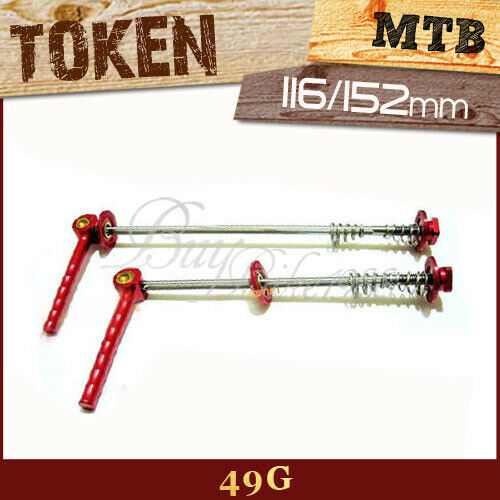 49g  TOKEN QR 5MM RED HUB QR SKEWER 100MM  , 135MM TI AXLE MTB BIKE QR5  fast shipping