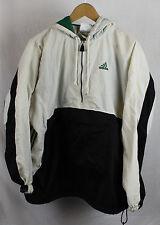 Vintage Adidas Pullover Jacket Kangaroo Pouch Sz XL White Black Green