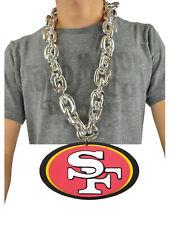 New NFL San Francisco 49ers SILVER Fan Chain Necklace Foam Magnet - 2 in 1