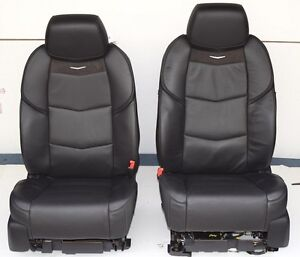 2016 2015 cadillac escalade front bucket seats full power in black leather ebay. Black Bedroom Furniture Sets. Home Design Ideas