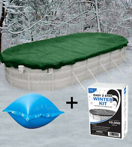 Details About 12 X18 Oval Above Ground Winter Pool Cover 4x4 Air Pillows Winterizing Kit