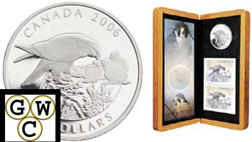 2006 Peregrine Falcon & Nestlings $5 Pure Silver Coin & Stamp Set (11812)
