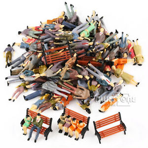 100-Seated-Standing-Model-People-Passanger-Figures-5-Bench-Train-Railway-Layout