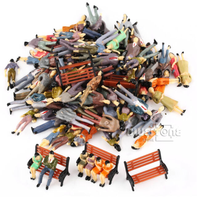 100 Painted 1:50 Model People Passenger Figures+5 Park Bench Scenery OO Scale