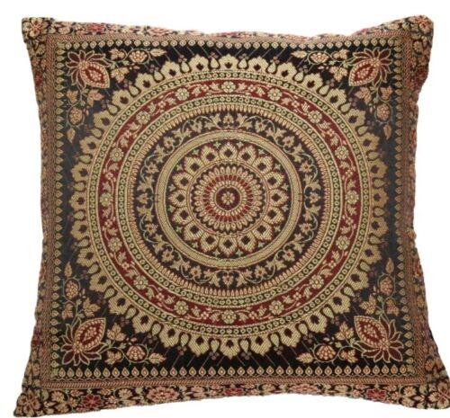 "Black Indian Ethnic Mandala Silk Brocade Cushion Covers Handmade 15"" Zip Back"