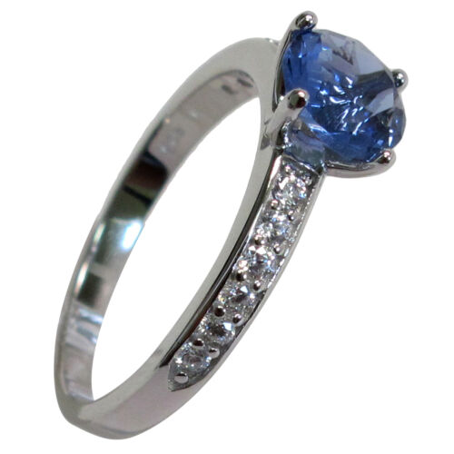 Fantaisie Rond Cut 1.5 ct Tanzanite 925 Sterling Silver Ring Taille 5-10