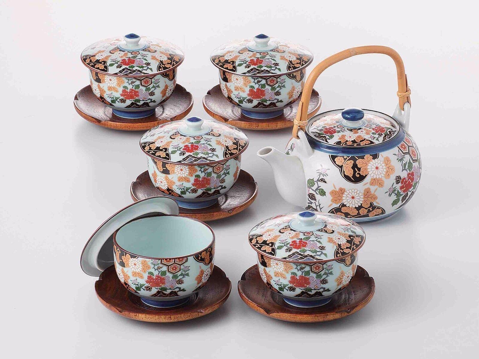Arita Yaki porcelaine  PIVOINE-Kyusu tea pot, 5 Tasse à Thé & Soucoupe Set