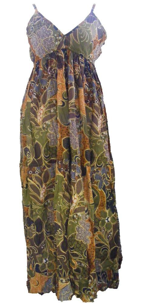 Terreux Marron Fleur En Coton Imprimé Robe Longue-ample Louisa Design-commerce équitable